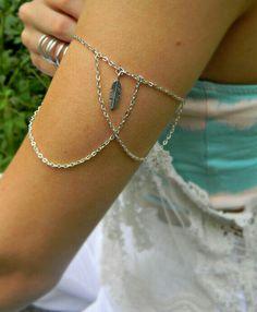 Armlet - Boho Bohemian Hipster Hippie Upper Arm Bracelet Jewelry Armlets Silver Feather Chain Armlet
