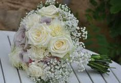 Gypsophila and rose Lavender Roses, Purple Roses, White Roses, Pastel Purple, Gypsophila Bouquet, Bride Bouquets, Floral Wedding, Wedding Flowers, List Of Flowers
