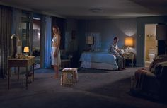 Gregory Crewdson works within a photographic tradition that combines the documentary style of William Eggleston and Walker Evans with the dream-like v. Diane Arbus, Edward Hopper, Narrative Photography, Cinematic Photography, Fine Art Photography, Photography Ideas, Photography Storytelling, Social Photography, Contemporary Photography