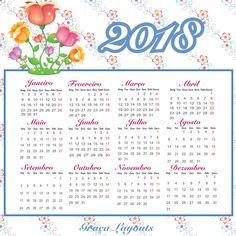 Calendário 2018 para baixar - Graça Layouts Design ,personalização e criação arte digital