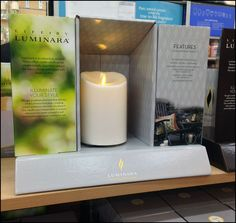 Small in size, this Luminara Shelf-Edge Shadowbox concept helps focus attention on the candle-like, battery-operated, remote-control, flickering flames. Without the display the Candle Lights would ...