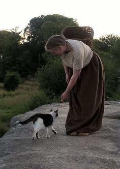 Reconstructed Bronze Age clothing made by Sally Pointer, (friendly cat probably not Bronze Age!)