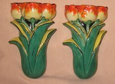 vintage pair of tulip wall pockets made in japan Flea Market Decorating, Vintage Dinnerware, Vintage Planters, Wall Brackets, Antique Shops, Pottery Vase, Wall Plaques, Vintage Walls, Kitsch