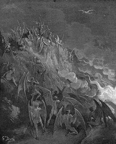 The demons eagerly await Satan's approaching return, excited to hear the result of his quest to destroy man.