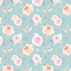 Muted Blue Pastel Floral custom fabric by angiemakes for sale on Spoonflower