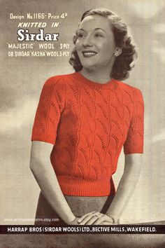 "Fan Pattern Ladies 1940s Jumper Petite 32"" to 34"" Bust Sirdar 1166 Vintage Knitting Pattern Download"