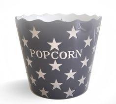 Popcorn estrella carbón. Recipiente de cerámica de color carbón y decorado con estrellas blancas.