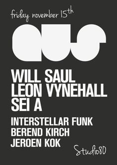 AUS Music feat. Will Saul | Studio 80 | Amsterdam | https://beatguide.me/amsterdam/event/studio-80-aus-music-20131115/poster/