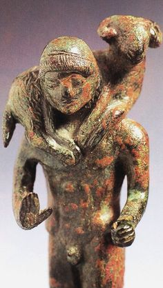 Statue of Ram Bearer - from Etruscan culture in ancient Italy, circa 6th c. BCE - at the Metaponto Museum