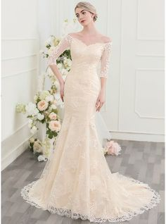Trumpet/Mermaid Off-the-Shoulder Court Train Zipper Up Covered Button Sleeves 1/2 Sleeves Church General Plus No Winter Spring Summer Fall Other Colors Lace Wedding Dress