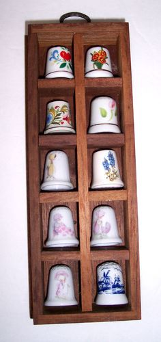 10 Porcelain Thimble Lot Floral & Holly Hobbie In Wood Display Curio Shadow Box
