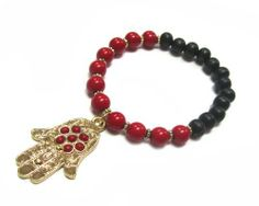 Fashion Beaded Hamsa/Hand of Fatima Stretch Bracelet - Red and Black AMEX Jewelry. $7.99. Length: Adjustable. Bead Size: 6mm