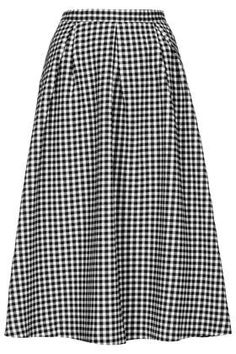 Top Shop - Gingham Calf Midi Skirt