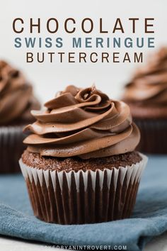 This Chocolate Swiss Meringue Buttercream recipe is a luscious frosting for cakes and cupcakes. It's less sweet than American buttercream and has a light, silky texture. Chocolate Swiss Meringue Buttercream, Meringue Frosting, Cake Frosting Recipe, Chocolate Cheesecake, Chocolate Flavors, Chocolate Cupcakes, Chocolate Frosting Recipes, Chocolate Sweets, Cupcake Flavors