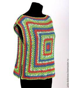 Crochet Cardigan Pattern, Granny Square Crochet Pattern, Crochet Blouse, Crochet Motif, Crochet Yarn, Knit Crochet, Crochet Patterns, Pull Crochet, Crochet Fashion