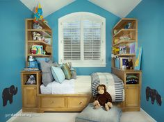 This is an awesome idea for a kids room, they always need storage space.