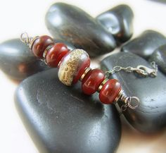 Crimson Red Lampwork Necklace  Sterling by WillowCreekJewelry, $74.00
