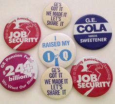 Vintage Pinback GE General Electric Union Pin Lot of 7 Pins Job Security Pension Funds 1980s 1970s by aroundtheclock on Etsy