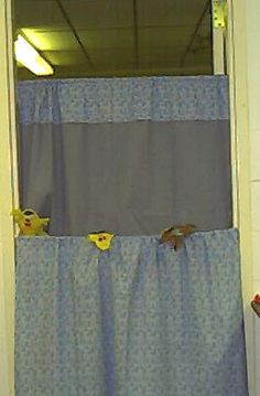 I like this idea for changing out the background for Bible Stories. (puppet stage using two tension rods and curtains)