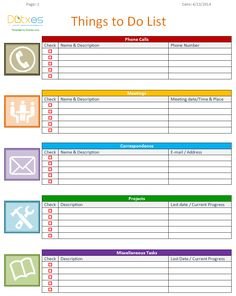 Project To Do List Templates | This Project Planner Page Goes On The Right Side Of Your Executive