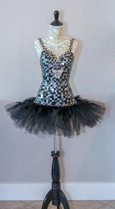 """Mosaic mannequin. Mixed media, 3D art, mosaic dress form """" Black Swan"""" ballet tutu by Carrie Eckert"""