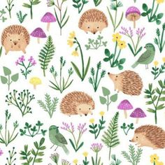 Clothworks Woodland Wander Toss White Designed by Rebecca Jones for Clothworks, this cotton print fa Wallpaper Kawaii, Fabric Design, Pattern Design, Toddler Sheets, Infant Toddler, Girl Nursery Bedding, Purple Accents, Fabric Gifts, Panel Quilts