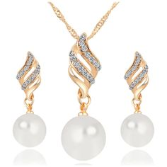 Pearl Spiral Rhinestone Wedding Bridal Necklace Earrings Jewelry Set ($3.99) ❤ liked on Polyvore featuring jewelry, gold, jewelry & watches, bride jewellery, pearl bridal jewellery, bridal jewelry, pearl bridal jewelry sets and set jewelry