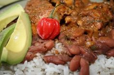 redbean with rice and stew chicken