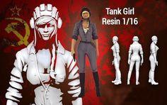 1/16 Resin Model Figure Kit Female FANTASY MODEL TANK GIRL Unpainted Figure Kit #Unbranded