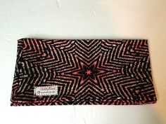 Stretchy wide headband, Half-Wide GiddyBand, Burst of a Star with Herringbone Rust and colors of Orange, Black, White, and a touch of Green by stitchesbygiddy on Etsy #headband, #etsy, #wide headband, #giddyband, #stretchy headband, yoga headband, #workout headband