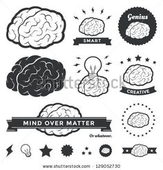 Vector illustration of brain designs & badges. These are iconic representations of creativity, ideas, inspiration, intelligence, thoughts, s...