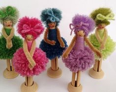 Pipe Cleaner and Pom Pom Dolls Doll Crafts, Diy Doll, Yarn Crafts, Hobbies And Crafts, Crafts For Kids, Yarn Dolls, Pom Pom Crafts, Clothespin Dolls, Flower Fairies
