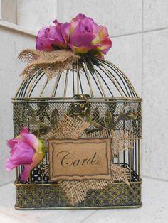Card Box / Birdcage Wedding Card Holder / Rustic Shabby Wedding