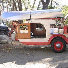 Teardrop trailer and canoe