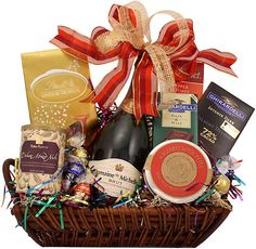 A Gift That Sparkles Champagne Gift Basket Champagne Gift Baskets, Wine Gift Baskets, Gourmet Gift Baskets, Themed Gift Baskets, Raffle Baskets, Christmas Food Gifts, Christmas Baskets, Engagement Gift Baskets, Christmas Table Centerpieces