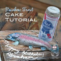How to make a fun and realistic rainbow trout birthday cake for the fishing fan in your life! Bonus FREE can of beer tutorial included! Fisherman Cake, Artisan Cake Company, Fish Cake Birthday, Best Knots, Trout Fishing Tips, Pabst Blue Ribbon, Drinking Buddies, Gone Fishing, Fishing Boats