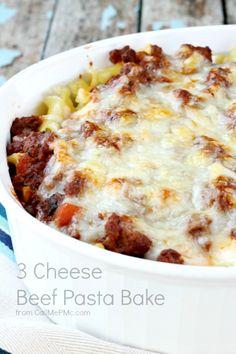 Three Cheese Layered Beef Pasta Bake - http://www.cheesecutterscorner.com/three-cheese-layered-beef-pasta-bake/
