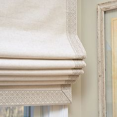 Easily one of favorite trims we have in our online store. Because what's not to love about this fabulous geometric pattern in a soft… Bedroom Drapes, Drapes Curtains, Gypsy Curtains, Fabric Blinds, House Blinds, Blinds For Windows, Blinds Design, Window Design, Roman Shades Kitchen
