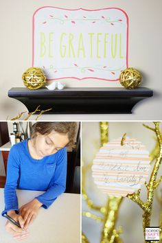 Decorating for Thanksgiving with writing thankful notes on a grateful tree and creating wall art with removable and reusable Fall Wall Decals from Wallternatives.com  - styled by Soieree Event Design