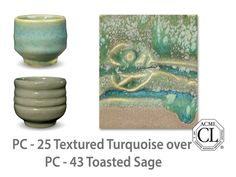 A subtle turquoise gloss, green-beige where thin, but a  beautiful aqua where thick. Great for textured ware and layering with other Potter's Choice glazes.  Due to the powdered nature of the materials involved with the dry-mix dipping buckets of this product, their respective health information and labels differ from the brushing glazes.