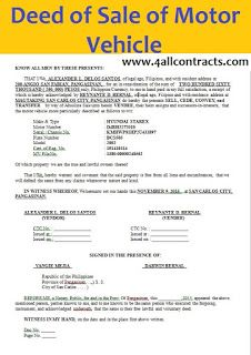 Deed Of Sale Of Motor Vehicle Template Doc Motor Car Rental Agreement Templates Car Purchase