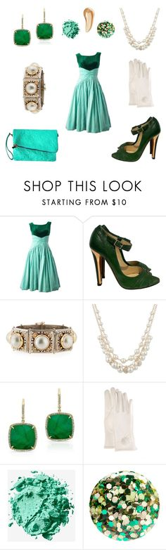 """NYE Style Guide: 1950s"" by geminae ❤ liked on Polyvore featuring Jimmy Choo, Konstantino, Anne Klein, FRR, NYX, Nails Inc. and Charlotte Tilbury"