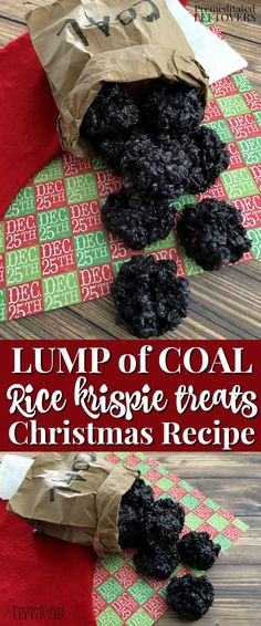 christmas recipes This Lump of Coal Rice Krispie Treats Recipe is fun to make and receive around Christmas! Oreos and food coloring help these treats look just like coal! Christmas Food Treats, Xmas Food, Christmas Cooking, Holiday Treats, Holiday Recipes, Christmas Recipes, Christmas Rice Krispie Treats, Mini Desserts, Holiday Baking