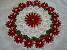 Vacaciones Navidad Crochet hermoso del grano tapete de flores