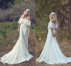 Wholesale 2015 Spring Beach Bohemian Wedding Dresses Long Chiffon Lace Off Shoulder Charming Princess A-line Bridal Gown Sweep Train Plus Size Gown WZ, Free shipping, $132.98/Piece | DHgate Mobile