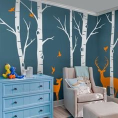 Customized birch tree decals for your living room, bedroom, or baby nursery! The birds and deer can go anywhere on the tree. Arrange them any way you like. This set includes five birch tree wall decal