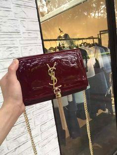 2016 Cheap YSL Small Patent Cassandre Tassel Shoulder Bag in Burgundy