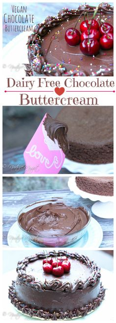 Vegan Chocolate Buttercream frosting.  Perfect for frosting cakes, rosettes on cupcakes and piping borders.