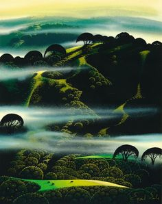 """Eyvind Earle, """"Fog Draped Hills,"""" 20x16"""", edition print of 200. Cause clearly none of us can get enough Eyvind Earle, and it always inspires me to paint when I look at this work!"""