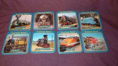 Legendary Trains Cork Back Coasters Set (8) Storage Box Atlas Editions #AtlasEditions